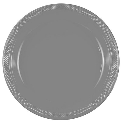 JAM Paper® Round Plastic Plates, Large, 10 inch, Silver, 20/pack  (10255LPsl)