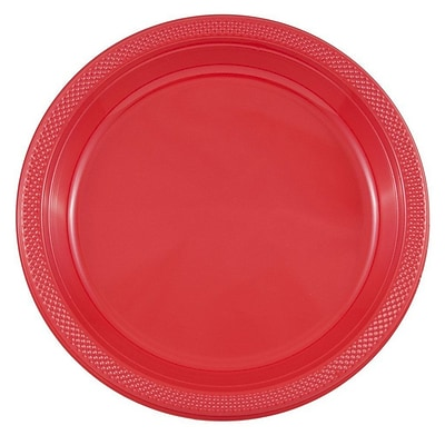 JAM Paper® Round Plastic Disposable Party Plates, Large, 10 1/4 Inch, Red, 20/Pack(10255LPre)