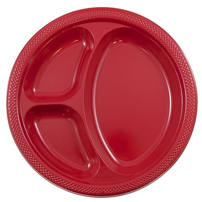 JAM Paper® Round Plastic Plates with Divided Compartments, Large, 10 inch, Red, 20/pack (10255CPre)