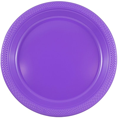 JAM Paper® Round Plastic Plates, Medium, 9 inch, Purple, 200/box (9255320689b)