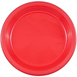 JAM Paper® Round Plastic Plates, Small, 7 inch, Red, 200/box (7255320666b)