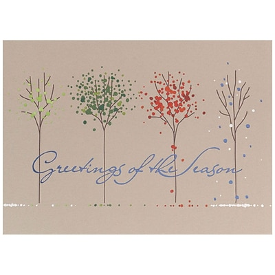 JAM Paper® Christmas Holiday Card Set, Four Seasons Trees, 25/pack (526M1114WB)