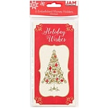 JAM Paper® Christmas Holiday Money Card Set, Holiday Wishes Tree, 6/pack (95231614)