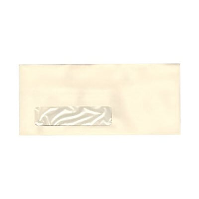 JAM Paper® #10 Window Business Envelopes, 4.125 x 9.5, Strathmore Ivory Laid, 500/box (21917036c)