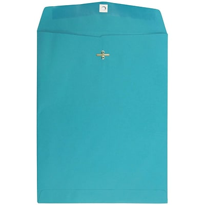 JAM Paper® 10 x 13 Open End Catalog Colored Envelopes with Clasp Closure, Sea Blue Recycled, 25/Pack (900766073a)