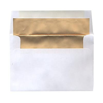 JAM Paper® 4 5/8 x 6 3/4 Foil Lined Envelopes, White with Gold Matte Lining, 25/pack (332411336)