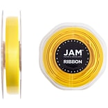 JAM Paper® Double Faced Satin Ribbon, 3/8 inch Wide x 25 yards, Yellow, Sold Individually (803SAye25