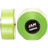 JAM Paper® Double Faced Satin Ribbon, 1.5 inch Wide x 25 yards, Lime Green, Sold Individually (808SA