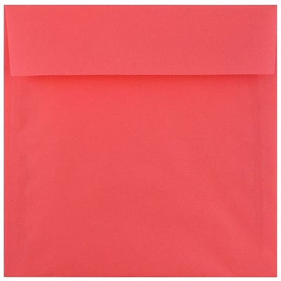 JAM Paper® 6 x 6 Square Envelopes, Watermelon Pink Translucent, 50/pack (241332374i)