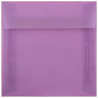 JAM Paper® 6.5 x 6.5 Square Envelopes, Lilac Purple Translucent, 50/pack (241332378i)