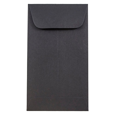 JAM Paper® #6 Coin Envelopes, 3 3/8 x 6, Black, 50/pack (356730564i)