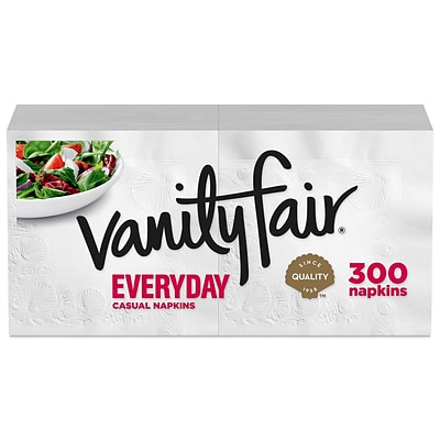 Vanity Fair Everyday Luncheon Napkins, 2-Ply, White, 300/Pack (35503/14)