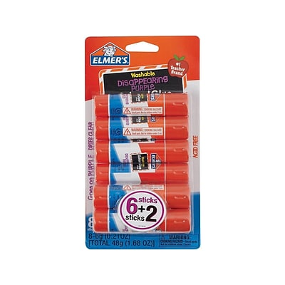 Elmers School Permanent Glue Sticks, 0.21 Oz., 8/Pack (E1591/E1560)