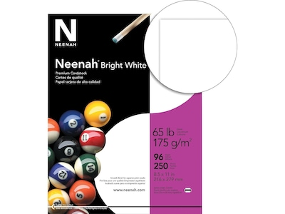 "Neenah Cardstock Paper, 65 lbs, 8.5"" x 11"" (US letter), Bright White, 250/Pack (91904)"
