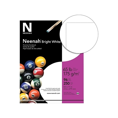 Neenah Cardstock Paper, 65 lbs, 8.5 x 11, 96 Brightness, Bright White, 250 Sheets/Pack (91904)