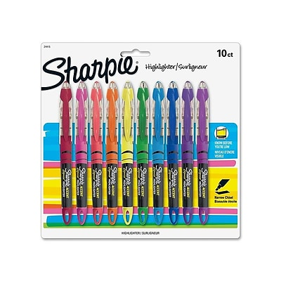 Sharpie Liquid Highlighters, Chisel, Assorted Colors, 10/Pack (24415PP)