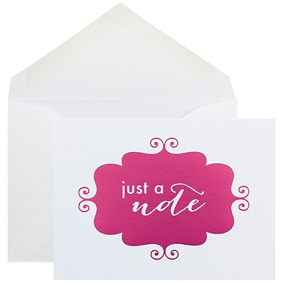 JAM Paper® Thank You Cards Set, Just a Note, Pink Banner, 10/pack (D41115NPMB)