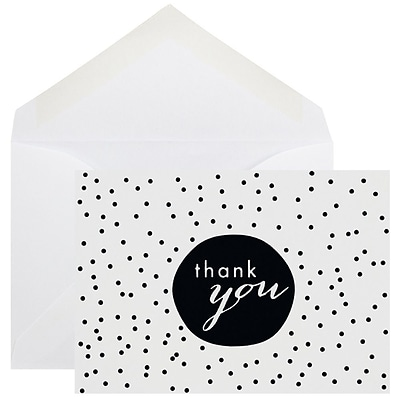 JAM Paper® Thank You Cards Set, Black Tiny Dot, 10/pack (D41111TYBKMB)