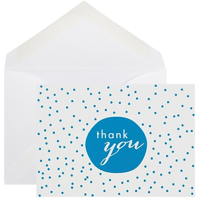 JAM Paper® Thank You Cards Set, Blue Tiny Dot, 10/pack (D41111TYBLMB)