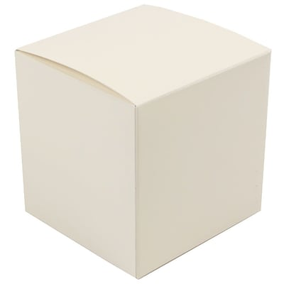 JAM Paper® Glossy Gift Boxes, Small, 3.5 x 3.5 x 3.5, Ivory,10/pack (3238319101b)