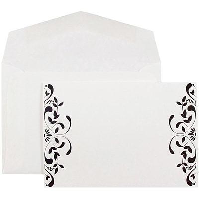 JAM Paper® Wedding Invitations, Small, 4 7/8 x 3 3/8, White Floral Square Cards & White Envelopes, 100/pack (52659610)