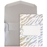 JAM Paper® Wedding Invitations, Large, 5.5 x 7.5, White Envelope White Silver Zebra Stripe, 50/pack