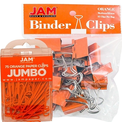 JAM Paper® Colored Office Desk Supplies Bundle, Orange, Jumbo Paper Clips & Medium Binder Clips, 1 Pack of Each (4218339OR)