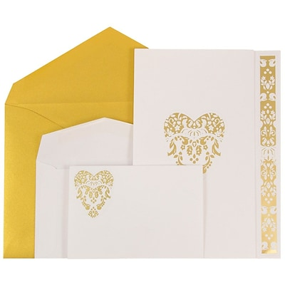 JAM Paper® Wedding Invitations, Combo, 1 small & 1 large, White Floral Heart Cards w/ Gold Env, 50/pack (5279882goCO)