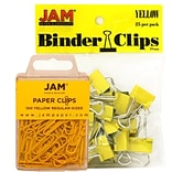 JAM Paper® Colored Office Desk Supplies Bundle, Yellow, Paper Clips & Binder Clips, 1 Pack of Each,
