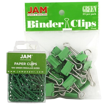 JAM Paper® Colored Office Desk Supplies Bundle, Green, Paper Clips & Binder Clips, 1 Pack of Each, 2/pack (218334gr)
