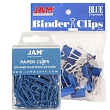 JAM Paper® Colored Office Desk Supplies Bundle, Blue, Paper Clips & Binder Clips, 1 Pack of Each, 2/