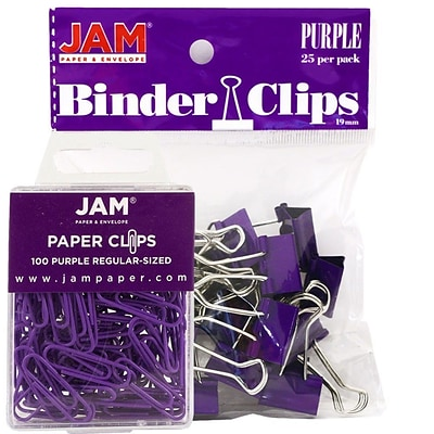JAM Paper® Colored Office Desk Supplies Bundle, Purple, Paper Clips & Binder Clips, 1 Pack of Each, 2/pack (218334pu)
