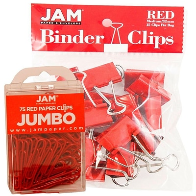 JAM Paper Colored Office Desk Supplies Bundle, Red, Jumbo Paper Clips & Medium Binder Clips, 1EA/PK (4218339re)
