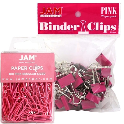JAM Paper® Colored Office Desk Supplies Bundle, Pink, Paper Clips & Binder Clips, 1 Pack of Each, 2/pack (218334pi)