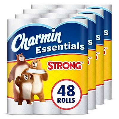 Charmin Essentials Strong Mega 1-Ply Standard Toilet Paper, White, 300 Sheets/Roll, 48 Rolls/Carton (97327)