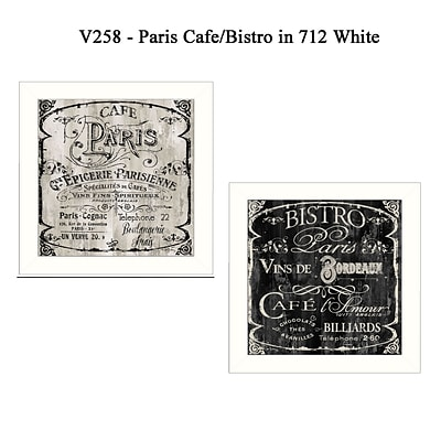 TrendyDecor4U Paris Cafe/Bistro Set of 2 -12x12 White Framed  Wall Art Prints by Color Bakery (V258-712W)