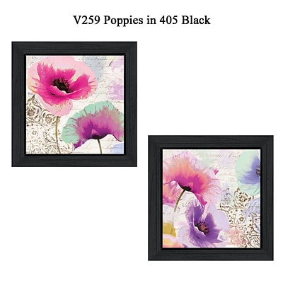 TrendyDecor4U Poppies Set of 2 - 12x 12 Black Framed Wall Art by Color Bakery (V259-405)