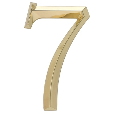 Classic 6 Inch Number  7  Polished Brass (Whitehall Products) 11107