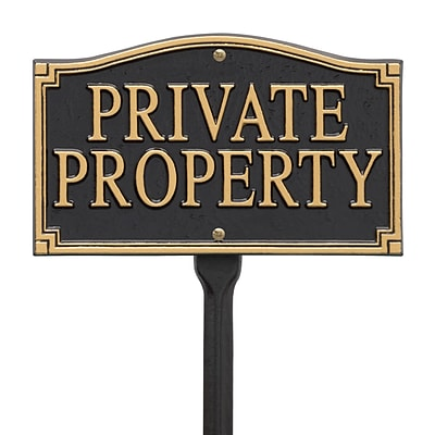 Private Property Statement Plaque - Wall/Lawn - Black/Gold (Whitehall Products) 01430