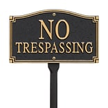 No Trespassing Statement Plaque - Wall/Lawn - Black/Gold (Whitehall Products) 01424