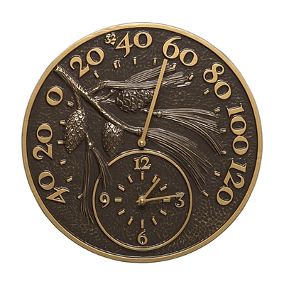 Whitehall Products 14 Pinecone Clock And Thermometer - French Bronze (1790)