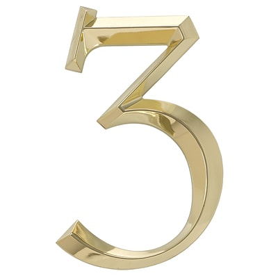 Classic 6 Inch Number  3  Polished Brass (Whitehall Products) 11103