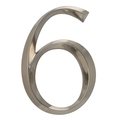 Classic 6 Inch Number  6  Polished Nickel (Whitehall Products) 11096