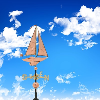 Copper Sailboat Weathervane - Polished (Whitehall Products) 45027
