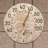 Fossil Sumac Thermometer Clock - Weathered Limestone (Whitehall Products) 01587