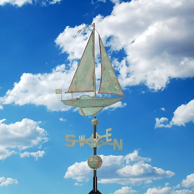 Copper Sailboat Weathervane - Verdigris (Whitehall Products) 45026
