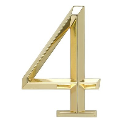 Classic 6 Inch Number  4  Polished Brass (Whitehall Products) 11104