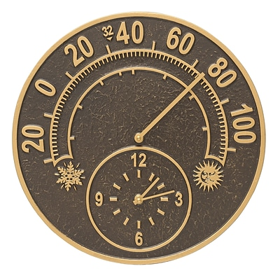 Solstice Thermometer Clock - French Bronze (Whitehall Products) 01288