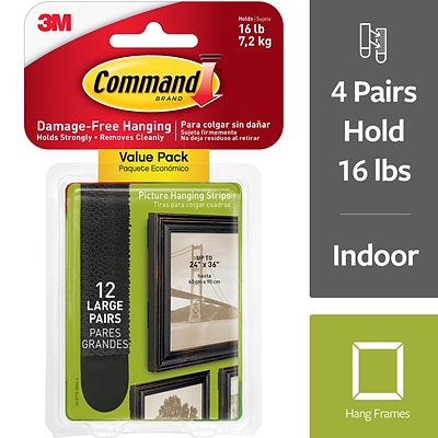 3M Command Value Pack12 Medium Wall Hooks 24 Med Adhesive Strips