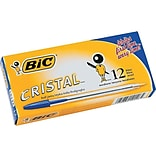 BIC Cristal Ballpoint Pens, Medium Point, Blue Ink, Dozen (10126/MS11BL)
